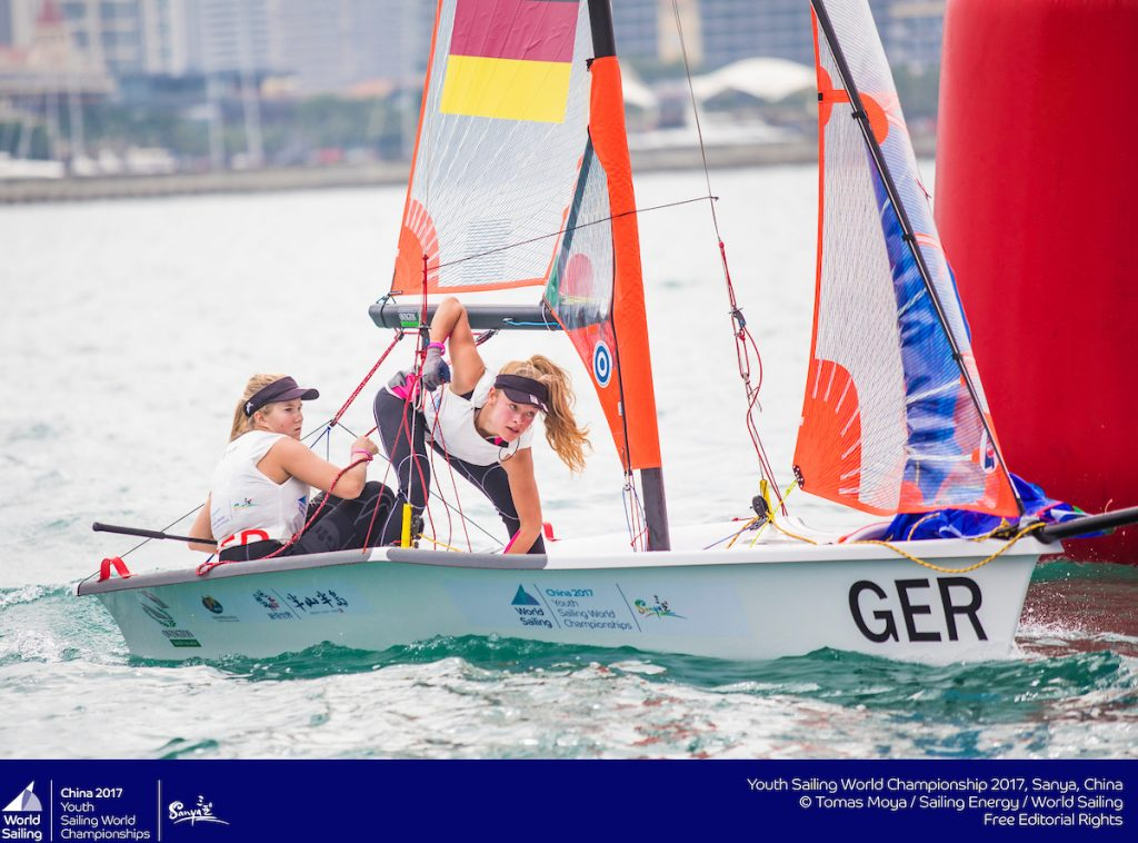 Youth Sailing Word Championships 2018: Maru Scheel und Freya Feilcke vertraten Deutschland bereits bei den Youth Worlds 2017. Foto: Tomas Moya/Sailing Energy