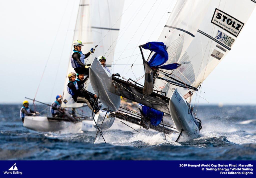 Paul Kohlhoff und Alica Stuhlemmer segelten beim World Cup Finale vor Marseille auf Platz 8. Foto: Sailing Energy