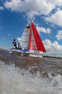 Silas Mühle und Romy Mackenbrock zeigten bei wechselhaften Bedingungen überzeugende Leistungen vor Buenos Aires. Foto: World Sailing/ Matias Capizzano