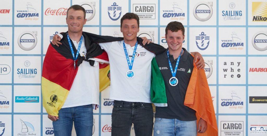Das Podium der Laser U21-WM (vlnr): Max Wilken, Philipp Loewe, Liam Glynn. Foto: Robert Hajduk