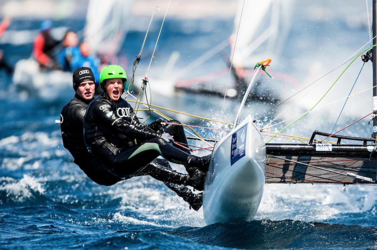 Führen die nationale Ausscheidung an: Jan Hauke Erichsen und Lea Spitzmann vom Flensburger Segel-Club Sailing Energy/World Sailing