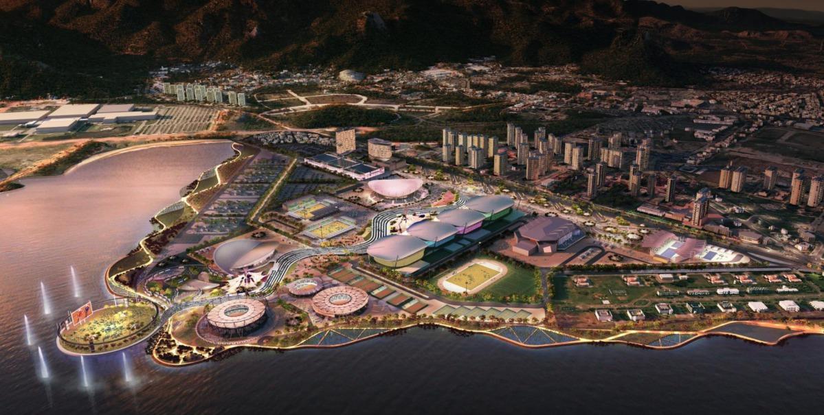 Der Olympia-Park von Rio de Janeiro. Hier finden vom 5. bis 21. August die Olympischen Sommerspiele 2016 statt. Grafik: IOC