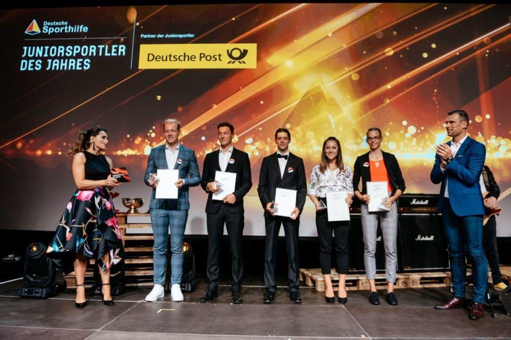 Die Nominerten zum Juniorsportler des Jahres: Max Langenhan, Philipp Loewe, Constantin Schmid, Aileen Rösler, Lea-Jasmin Riecke. Foto: picture alliance für Deutsche Sporthilfe