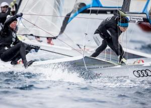 3. Platz im 49erFX: Tina Lutz (li., Chiemsee Yacht Club) und Susann Beucke (Hannoverscher Yacht-Club) Foto: Pedro Martinez/Sailing Energy/Sofia