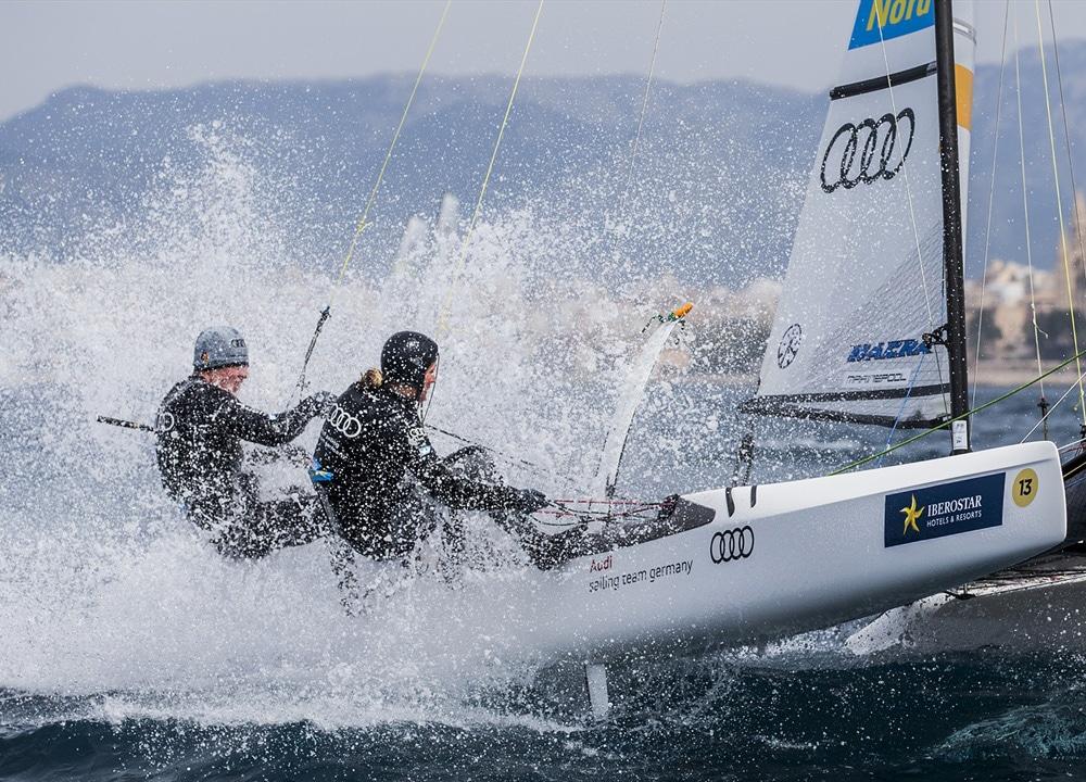 6. Platz im Nacra17: Jan Hauke Erichsen (li.) und Lea Spitzmann, Flensburger Segel-Club Foto: Pedro Martinez/Sailing Energy/Sofia