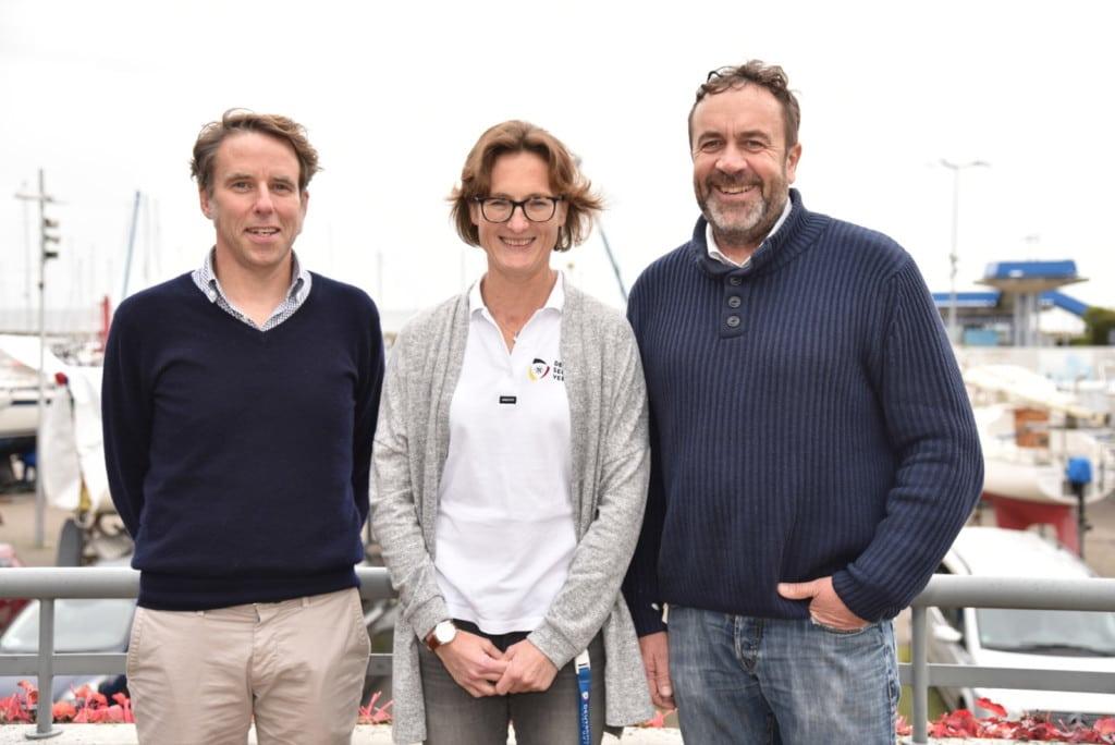 Johannes Christophers, Leiter der DSV-Abteilung Technik, DSV-Sportdirektorin Nadine Stegenwalner und Offshore-Coach Tim Kröger